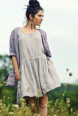 Šaty - Lněné šaty /šatovka šedá - 11045996_