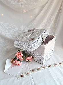 Košíky - Vintage svadobná krabička - 11044054_