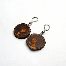 Náušnice - Drevené náušnice visiace - z broskyňovej halúzky - 11043665_