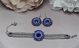 Náušnice - Visiace náušnice 'Majestic Blue' so Swarovski® kryštálmi - 11047719_