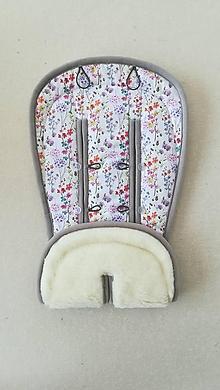 Textil - MERINO podložka do kočíka BUGABOO Bee / Buffalo/ Cameleon/ Donkey/ FOX / Joolz 100% WOOL Seat Liner FLOWERS - 11047396_