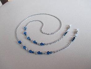 Iné šperky - Swarovski - retiazka na okuliare - chirurgická oceľ - modrá - 11048326_