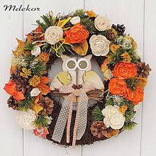 Dekorácie - Jesenný veniec s okatou sovou - 11047326_