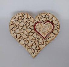 Tabuľky - Drevené srdce (Myslím na Teba) - 11049117_