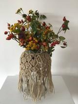 Dekorácie - Makramé obal na vázu jutový - 11047613_