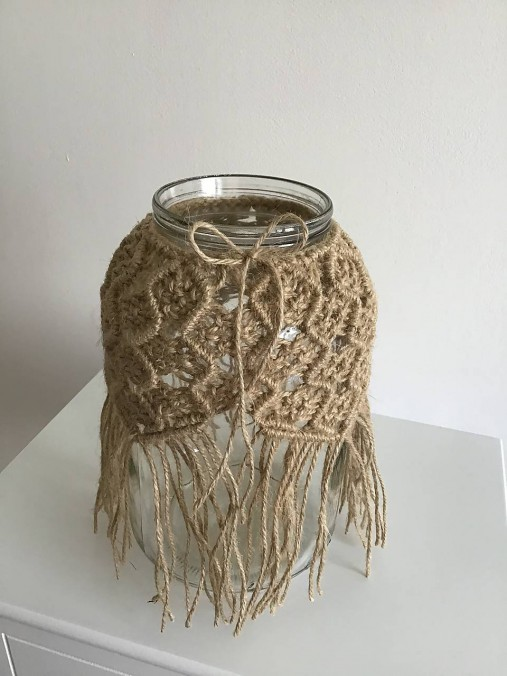 Makramé obal na vázu jutový