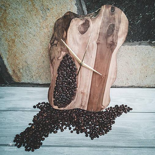 Coffee Time 2 - Teakové drevené hodiny