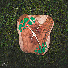 Hodiny - RAW Resin - Teakové drevené hodiny - 11048510_
