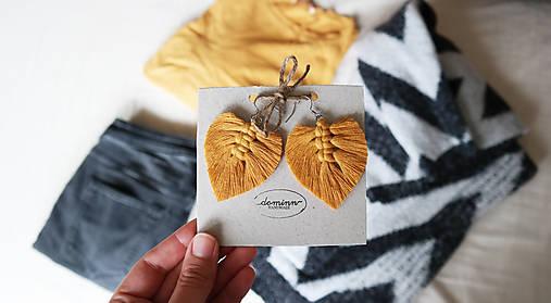 Macramé Náušnice - Horčicová žltá