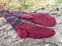 Obuv - pánske bordovo-čierne ponožky č.41-43 - 11048166_