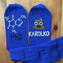 Obuv - Maľované ponožky s titulom a menom (Modrá) - 11049322_