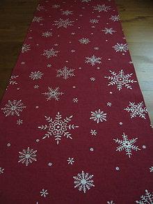 Úžitkový textil - Obrus vločky 142x35 - 11048436_