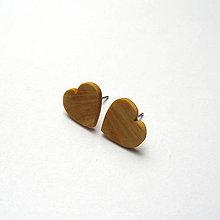 Náušnice - Drevené náušnice napichovacie - jaseňové srdiečka - 11048940_