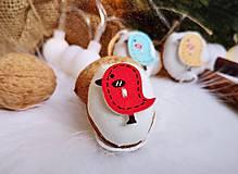 Dekorácie - Vianočné orechy biele s vtáčikmi - 11048537_