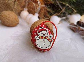 Dekorácie - Vianočné orechy  so snehuliakmi - 11048502_