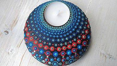 Svietidlá a sviečky - Bodkovaný drevený svietnik - akryl (Drevený svietnik 1 - predaný) - 11053210_