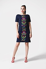 Šaty - Šaty tmavo modré s veľkou výšivkou - 11050284_