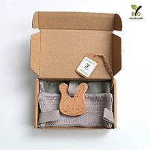 Hračky - Hryzkáčik sivý (100% biobavlna, 100% ľan) - 11051345_