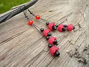 Náušnice - Náušnice červeno-čierne zvončeky - 11053697_
