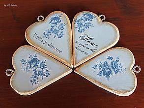 Dekorácie - Vintage srdiečko bacuľaté - modré ruže - 11049915_