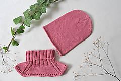 Detské čiapky - Merino súprava ružová - 11053258_