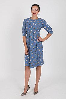 Šaty - Zľava 10% MIESTNE PUZDROVÉ ŠATY S OPASKOM FLORA (MODRÉ) - 11051882_