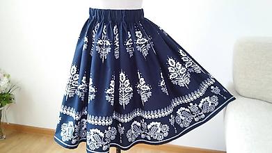 Sukne - Sukňa folklórna, tmavo  modrá - 11050441_