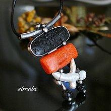 Náhrdelníky - Kontrasty (láva, korál, perla) - 11049905_