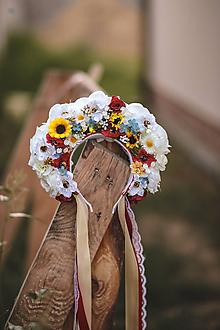 Ozdoby do vlasov - Folklórna svadobná kvetinová parta - 11052599_