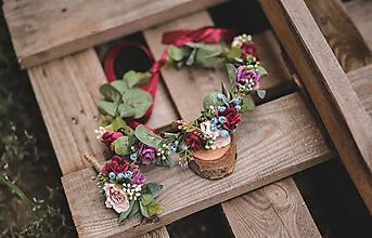 Ozdoby do vlasov - Svadobný set kvetinový venček a pierko - 11053656_