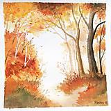 Obrazy - originál akvarel Jesenný les - 11050176_