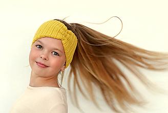 Detské čiapky - Merino čelenka žltá do vetra +42 farieb - 11053169_