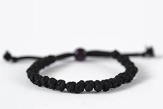 Náramky - Knotky náramok čierny (Ružová korálka) - 11050945_