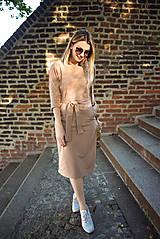 Šaty - Béžové úpletové šaty - 11052771_