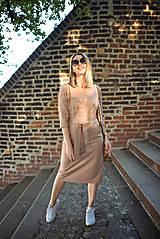 Šaty - Béžové úpletové šaty - 11052772_