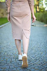 Šaty - Béžové úpletové šaty - 11052775_