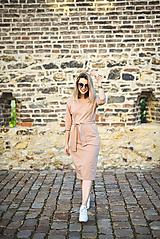 Šaty - Béžové úpletové šaty - 11052778_