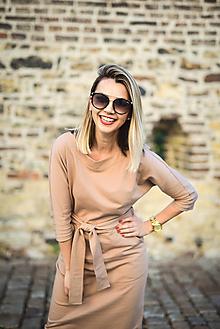 Šaty - Béžové úpletové šaty - 11052777_