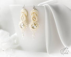 Náušnice - Romanca - Svadba (svadobné náušnice) soutache náušnicec na svadbu pre nevestu - 11053298_