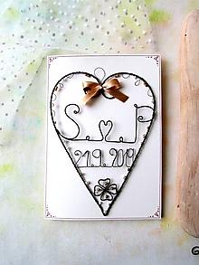 Papiernictvo - svadobná pohľadnica (Béžová) - 11053344_