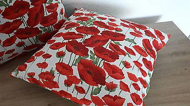 Úžitkový textil - Obliečka na vankúš  (Divé maky na bielej) - 11057235_