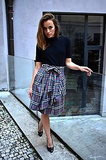 Sukne - ANJA, zavinovací sukně,  S/M, káro světle šedé - 11057865_