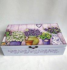 Krabičky - Drevená krabica 8 priečinková- levanduľová - 11055436_