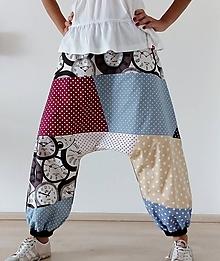 Nohavice - Harémové kalhoty HODINY - 11057015_