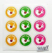 Papier - Samolepky - vtáčiky, hand made - 11056555_