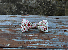 Doplnky - Kvetovaný ľanový motýlik - 11057753_