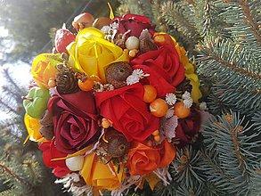 Dekorácie - Jesenná kytica - 11057656_
