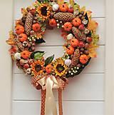 Dekorácie - Jesenný veniec s tekvičkami - 11055723_