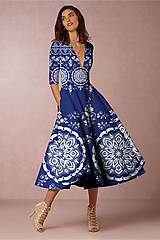 """Šaty - FLORAL FOLK """" Slovenská ornamentika """", spoločenské šaty v dĺžke midi - 11056297_"""