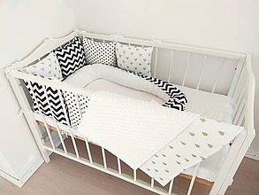 Textil - Čierno biely set so štipkou zlata - 11055869_